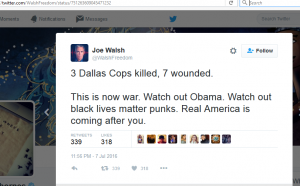 https://twitter.com/WalshFreedom/status/751382016629825536 deadbeat dad and ex-congressional member Joe Walsh whose privilege allowed him to threaten not only President of the United States but all blacks who don't placate his vile, misguided hate